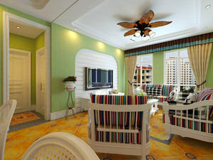 74平米田园风格清新一居室室内装修效果图