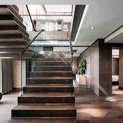 现代风格简约创意实木楼梯设计装修效果图