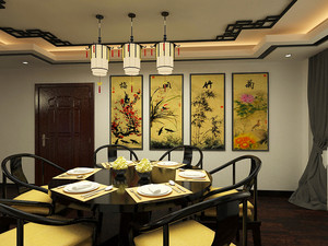 88平米中式风格精致两室两厅室内装修效果图