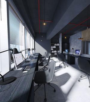 后现代风格黑色系办公室装修效果图