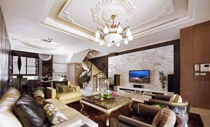 美式风格精致复式楼客厅电视背景墙装修图