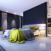 现代风格冷色调时尚卧室装修效果图欣赏