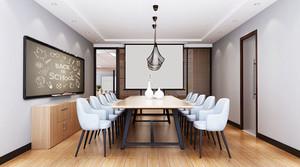 现代简约风格白色小型会议室装修效果图