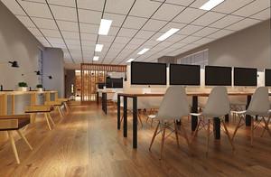 100平米现代风格大型办公室装修效果图