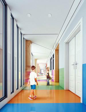 现代简约风格幼儿园教室过道装修效果图