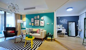 82平米北欧风格时尚多彩两室两厅装修效果图