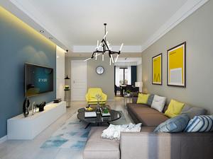 78平米现代简约风格时尚两室两厅装修效果图