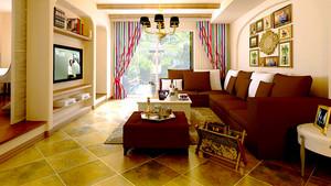 98平米美式田园风格精美两室两厅装修效果图