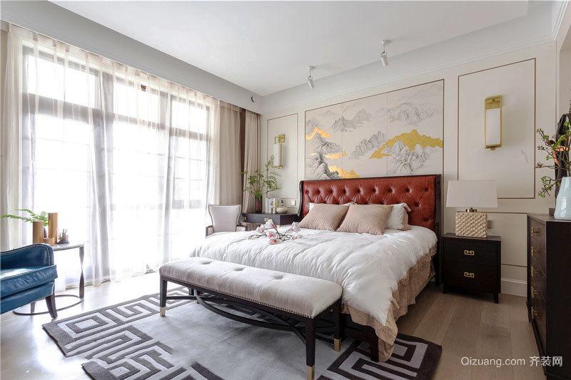 新中式风格大户型典雅卧室背景墙装修效果图欣赏