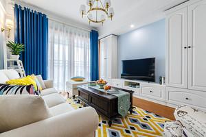 地中海风格简约清新两室两厅室内装修效果图案例