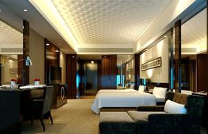 新中式风格宾馆标准间装修效果图赏析