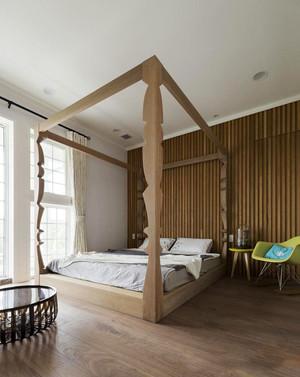 东南亚风格简约原木风卧室装修效果图