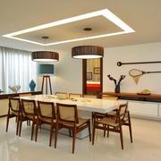 新中式风格大户型精致餐厅吊灯设计装修效果图