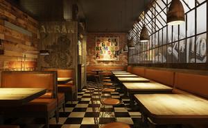 70平米复古风格精致餐厅装修效果图