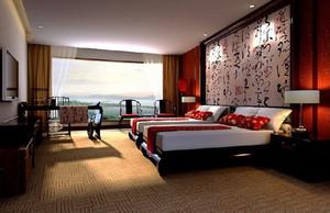 中式风格古典风宾馆标准间装修效果图