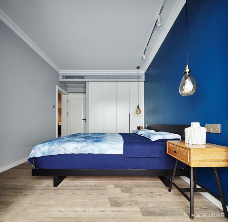 现代风格精致蓝色卧室背景墙装修效果图赏析