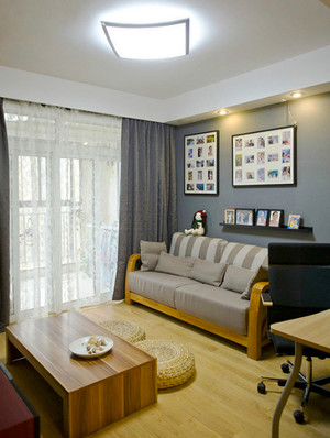 宜家风格简约暖色系两室两厅室内装修效果图案例