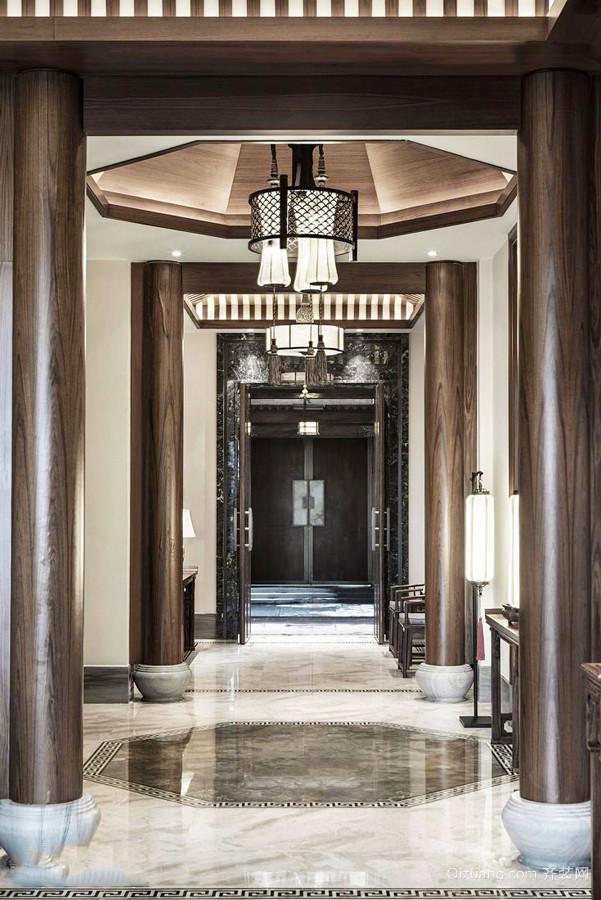 中式风格古典华丽别墅过道装修效果图赏析