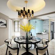 新中式风格精美餐厅圆形吊顶设计装修效果图