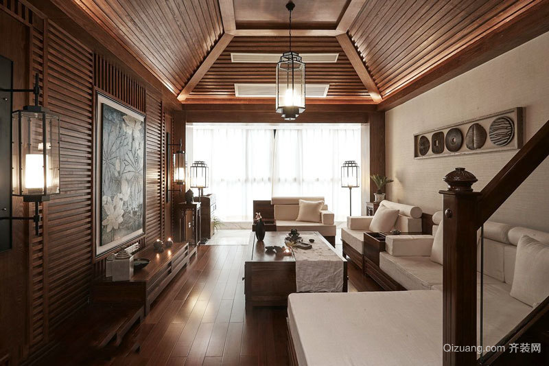 东南亚风格复式楼室内精美客厅吊顶设计装修效果图
