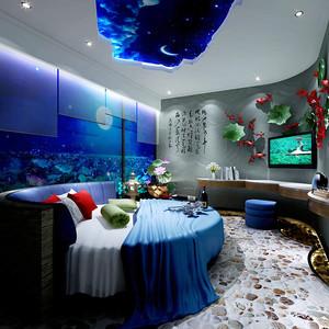 现代风格海洋主题宾馆客房设计装修效果图