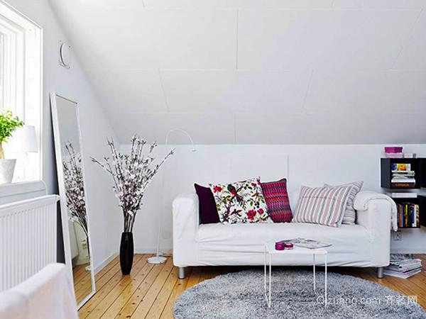 69平米北欧风格简约阁楼小户型室内装修效果图