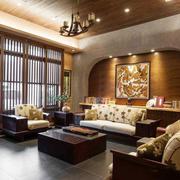东南亚风格大户型精美客厅背景墙装修效果图