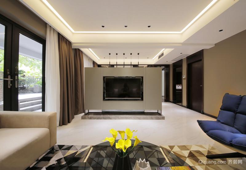 现代简约风格时尚创意客厅电视背景装修效果图