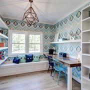 美式风格时尚清新书房飘窗设计装修效果图