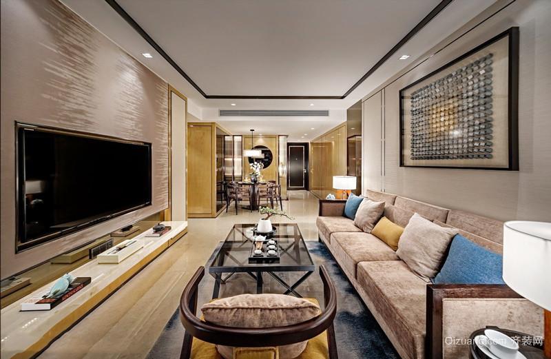 新中式风格三居室精致客厅装修效果图欣赏