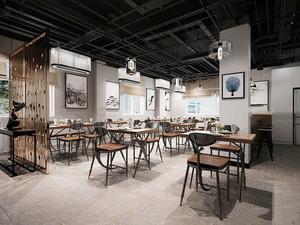 80平米简约中式中餐厅装修效果图