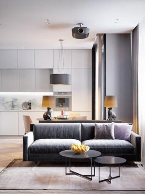 46平米现代风格精装单身公寓装修效果图案例
