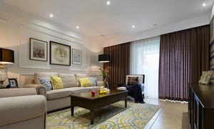 110平米清新美式风格三室两厅一卫装修效果图赏析