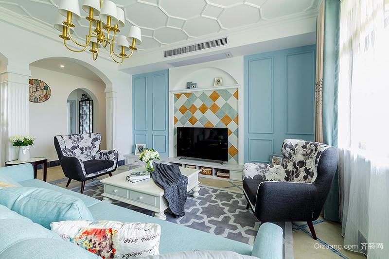 114平米欧式田园风格清新自然两室两厅室内装修效果图