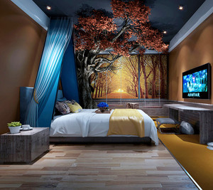 新中式风格精致酒店客房设计装修效果图