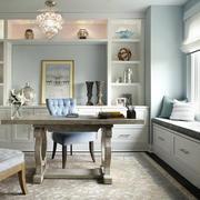欧式风格浅色精美书房飘窗设计装修效果图