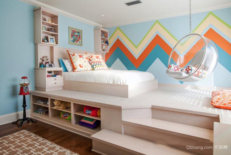 现代简约风格时尚多彩儿童房设计装修效果图