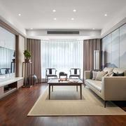 新中式风格大户型客厅背景墙装修效果图赏析