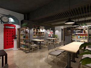 复古风格精美文艺咖啡厅设计装修效果图