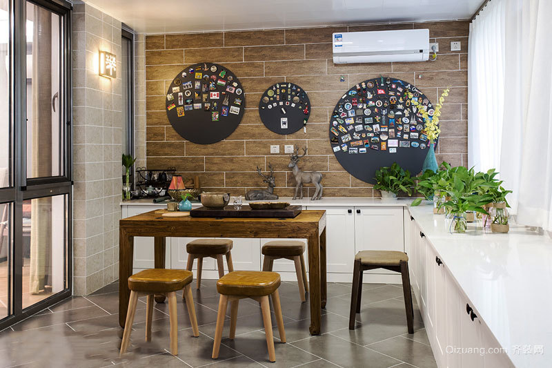 北欧风格时尚创意餐厅背景墙装修效果图赏析