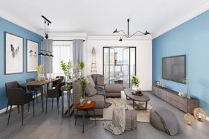 74平米后现代风格精致一居室室内装修效果图