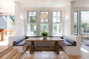 简欧风格别墅室内精美餐厅卡座设计装修效果图