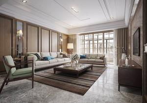 90平米新中式风格室内精致装修效果图