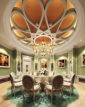 欧式风格精致酒店包厢吊顶设计装修效果图