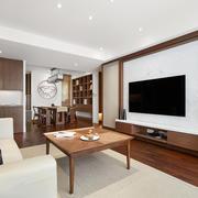 新中式风格大户型客厅电视背景墙装修效果图