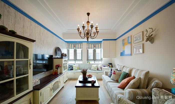 126平米地中海风格清新三室两厅两卫装修效果图