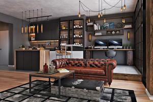 68平米后现代风格工业风单身公寓装修效果图