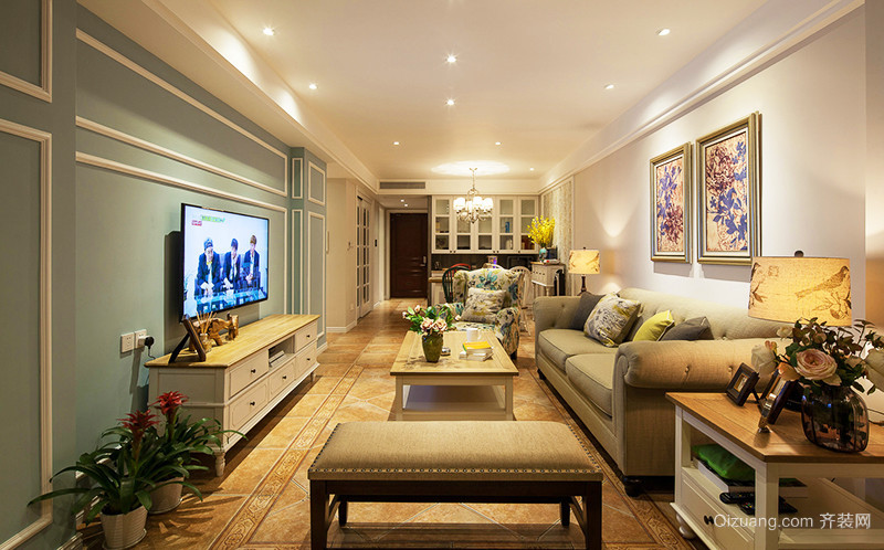 欧式风格温馨精美三室两厅室内装修效果图案例