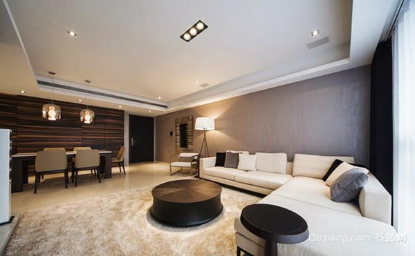 124平米现代简约风格精装三室两厅室内装修效果图