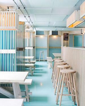 清新风格时尚咖啡厅设计装修效果图